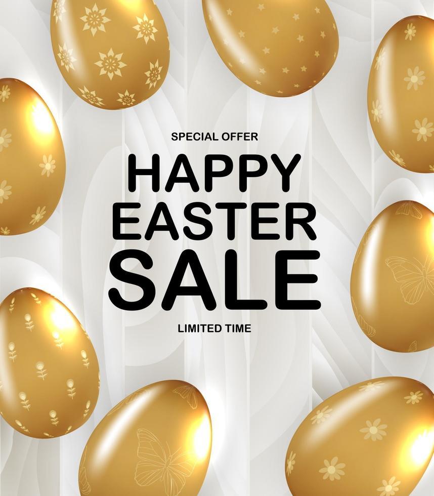 modello di poster di Pasqua con uova di Pasqua dorate realistiche 3d. modello per pubblicità, poster, flyer, biglietto di auguri. illustrazione vettoriale
