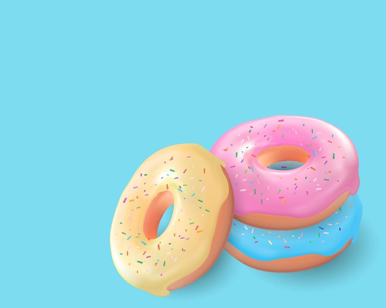 ciambella gustosa dolce 3d realistica su sfondo blu vettore