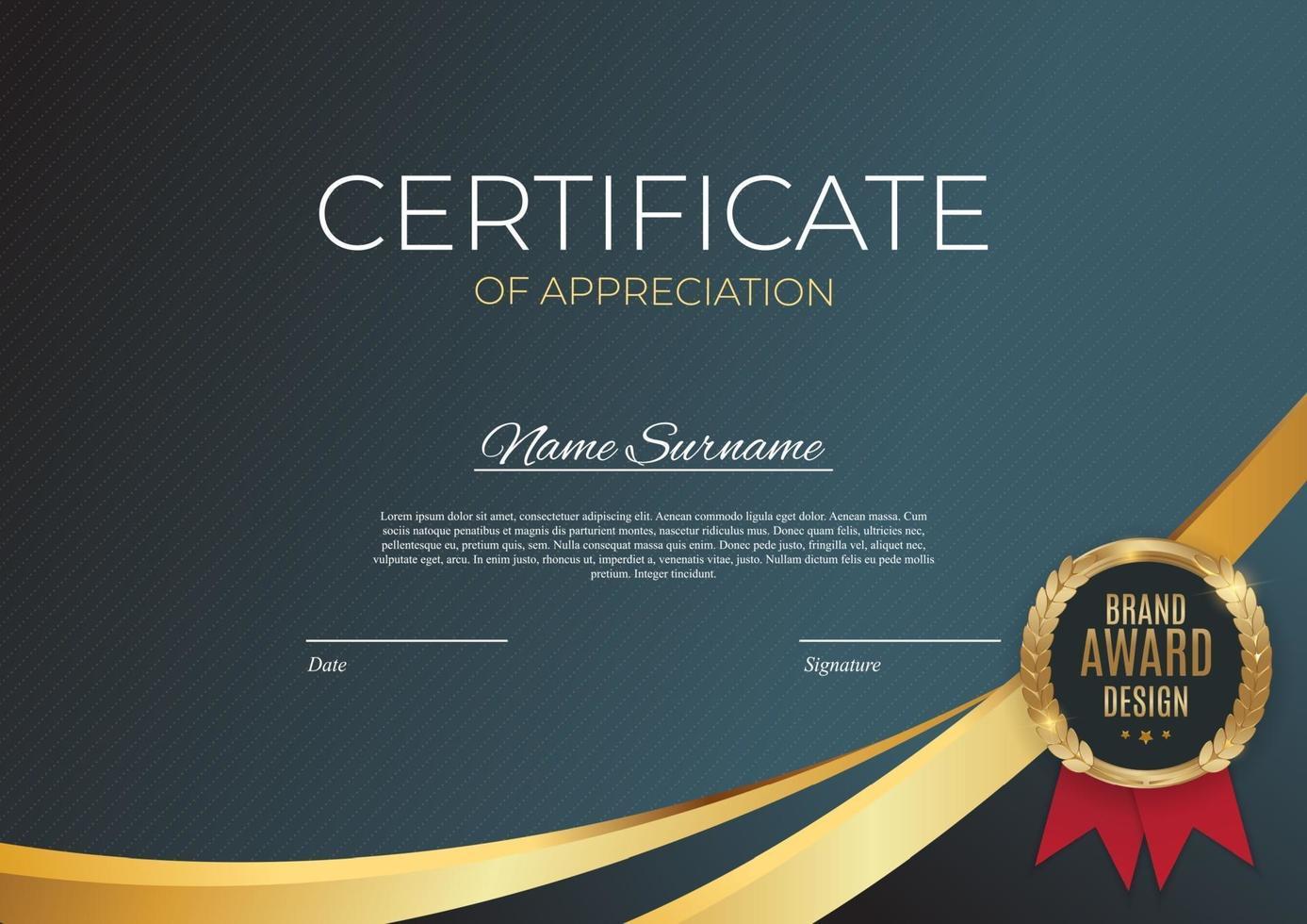 certificato di modello di realizzazione. sfondo con badge oro e bordo. vettore
