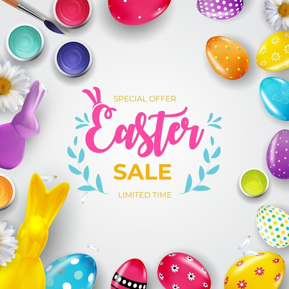 modello del manifesto di vendita di Pasqua con uova di Pasqua realistiche 3d. modello per pubblicità, poster, flyer, biglietto di auguri. illustrazione vettoriale. vettore