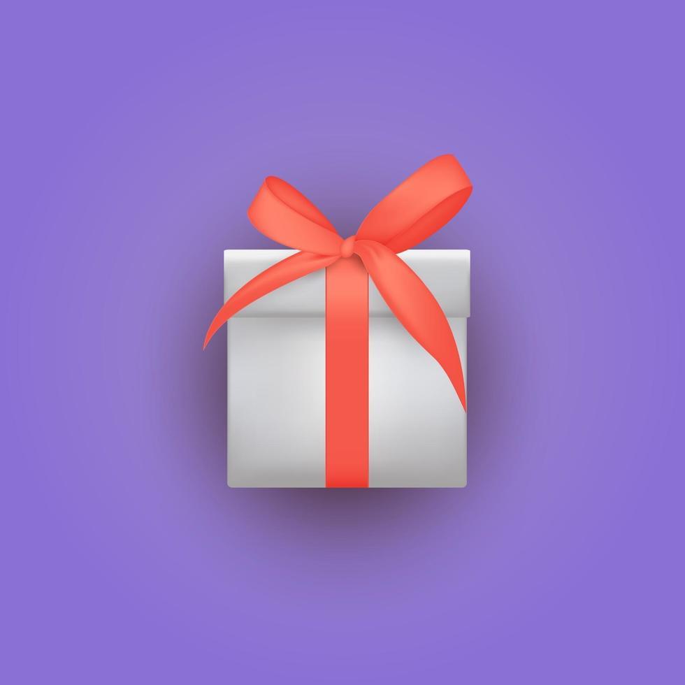 confezione regalo 3d realistica con fiocco e nastro. illustrazione vettoriale