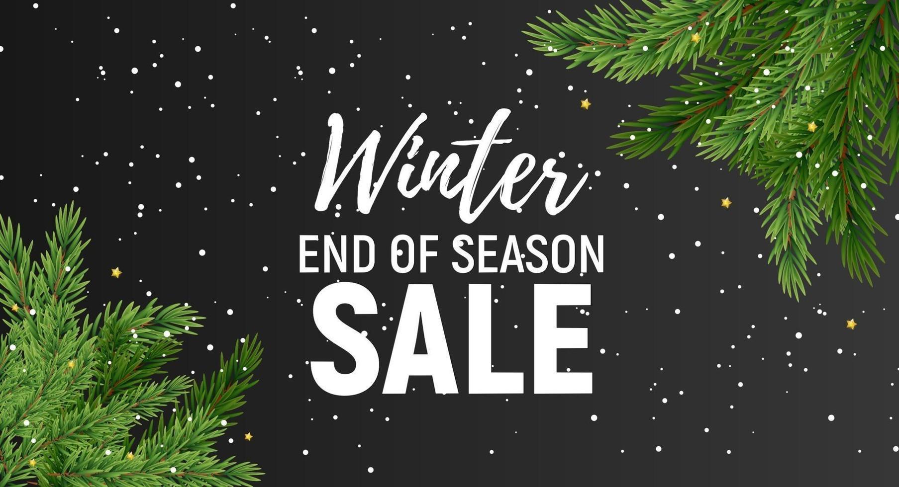 banner di vendita di fine stagione invernale con particelle di neve vettore