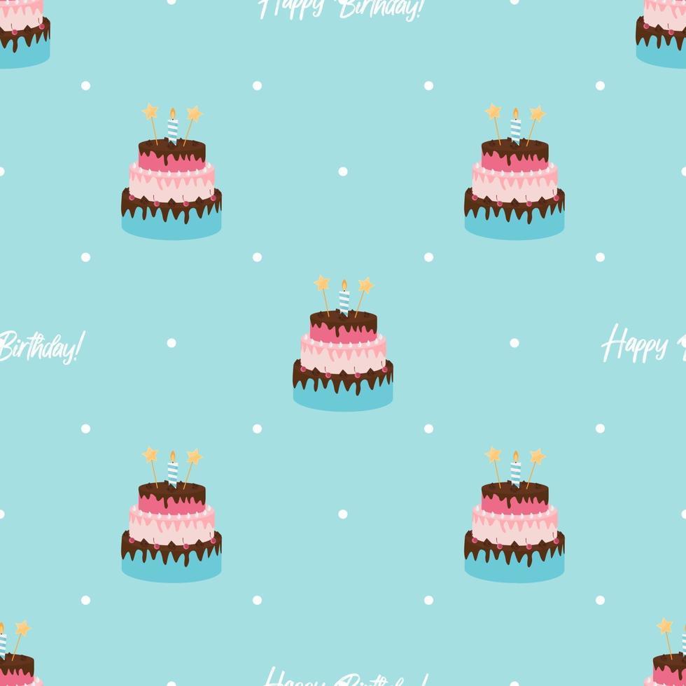 compleanno carino seamless pattern di sfondo con torta, candele. elemento di design per invito a una festa, congratulazioni. illustrazione vettoriale
