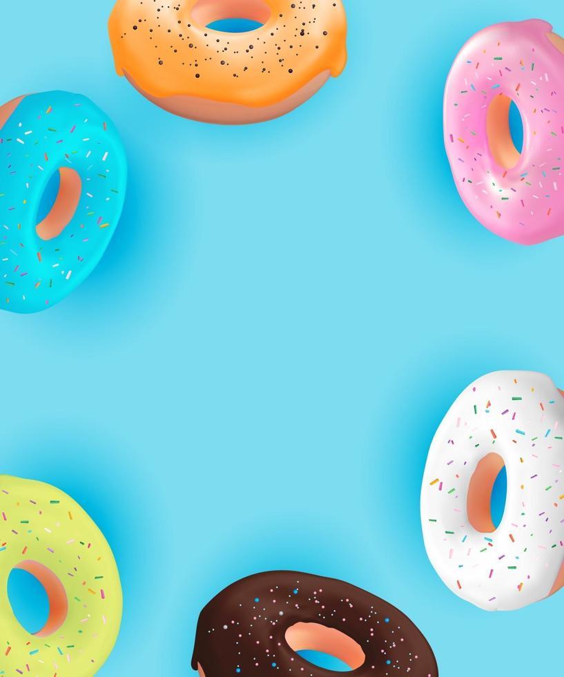 realistica 3d dolce gustoso sfondo ciambella. può essere utilizzato per menu di dessert, poster, carta. vettore