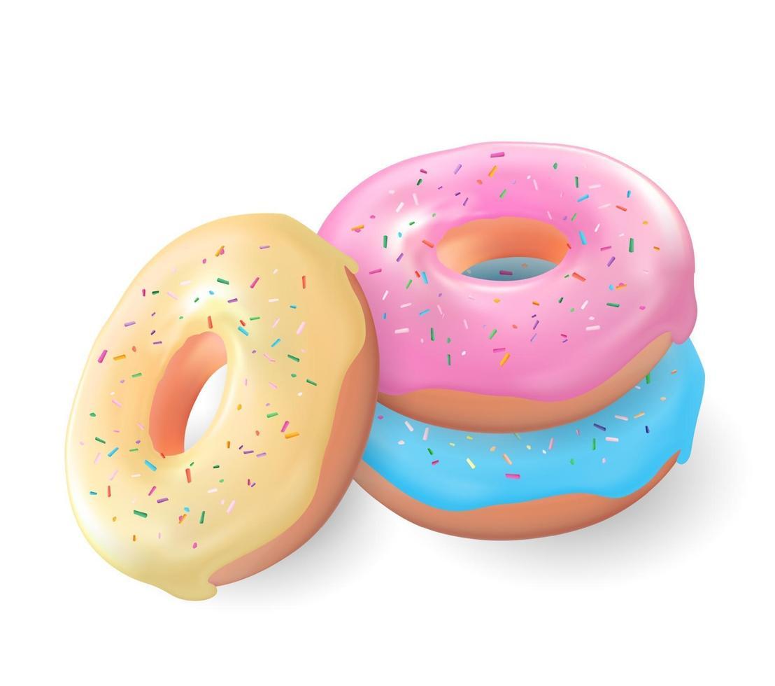 realistica 3d dolce gustosa ciambella su sfondo bianco vettore