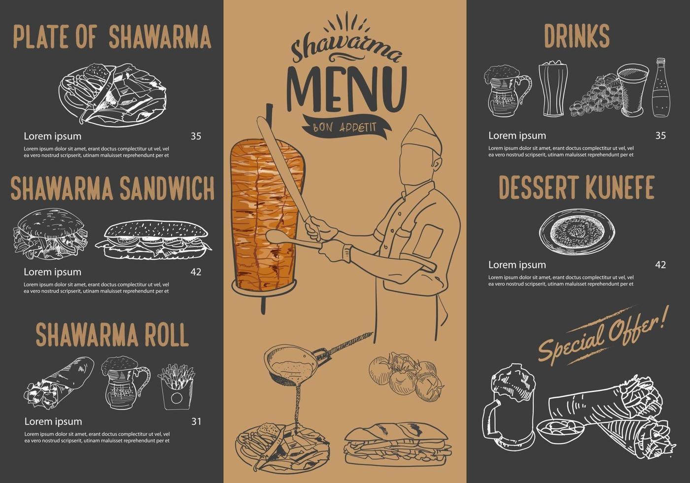 cucina shawarma e ingredienti per kebab. vettore