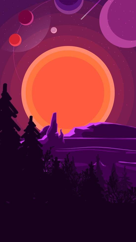 paesaggio con tramonto dietro le montagne, foresta e cielo stellato sul cielo viola. illustrazione vettoriale. vettore