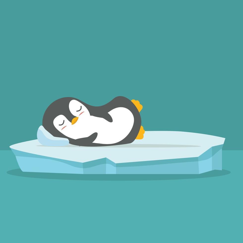 simpatico pinguino che dorme sul fondo di vettore del lastrone di ghiaccio