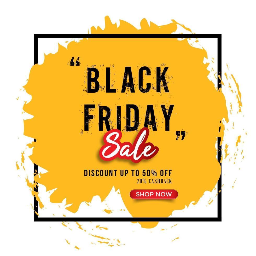 sfondo del telaio del tratto di pennello giallo vendita venerdì nero vettore