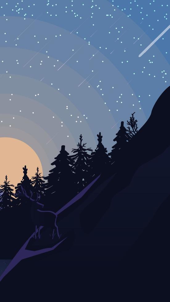 paesaggio con cielo stellato, pineta in montagna. illustrazione vettoriale