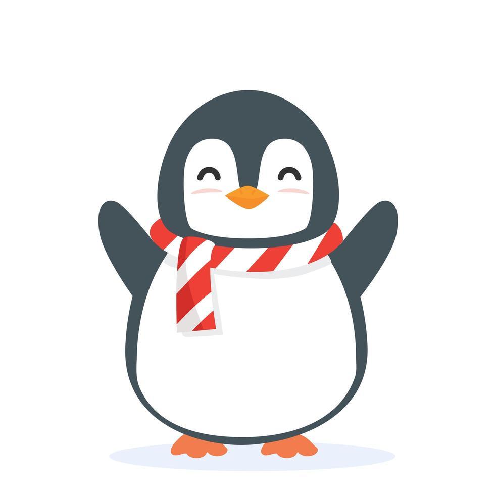 simpatico pinguino animale cartone animato vettore