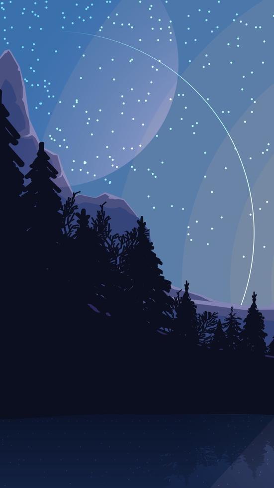 paesaggio con cielo stellato, pianeti, pineta in montagna. illustrazione vettoriale
