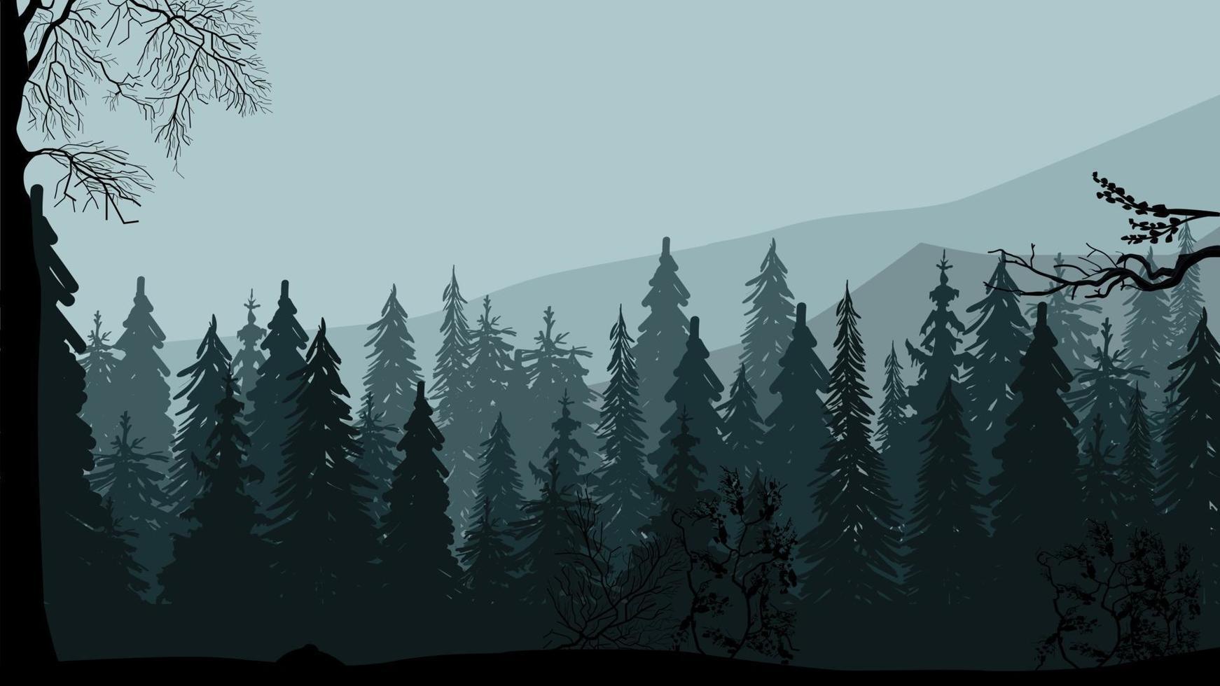 pineta scura, montagne e cielo grigio, paesaggio serale grigio vettore