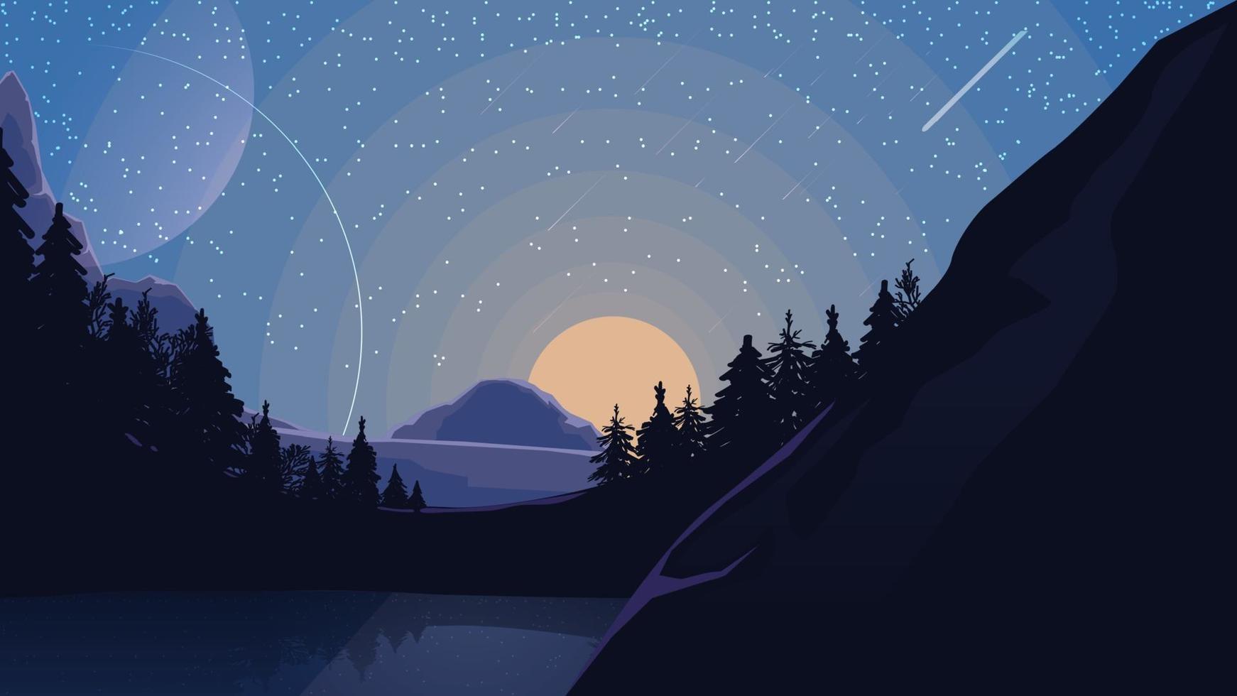paesaggio con cielo stellato, pianeti, pineta e lago di montagna. illustrazione vettoriale