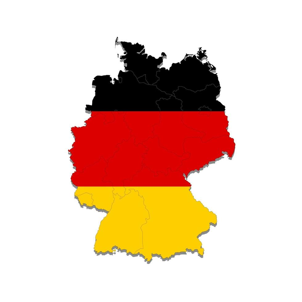 mappa della germania con i confini delle città del paese. illustrazione vettoriale