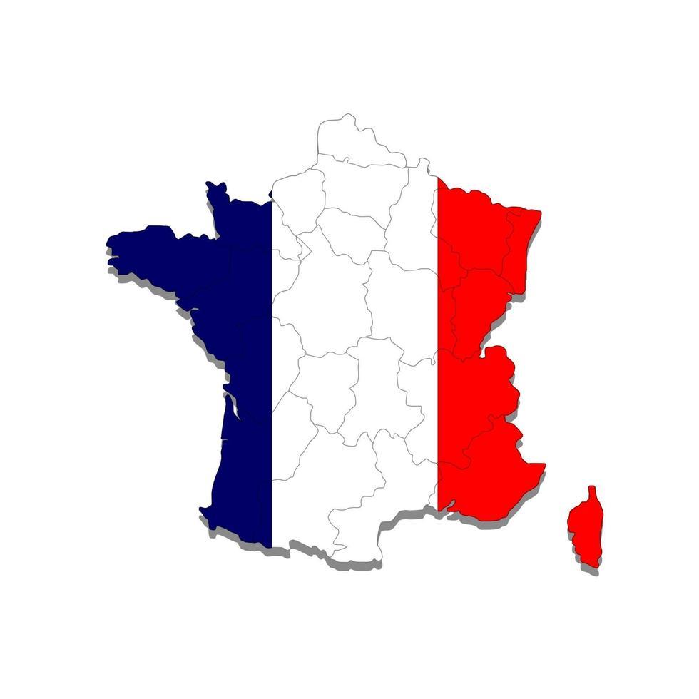 mappa della francia con i confini delle città del paese. illustrazione vettoriale