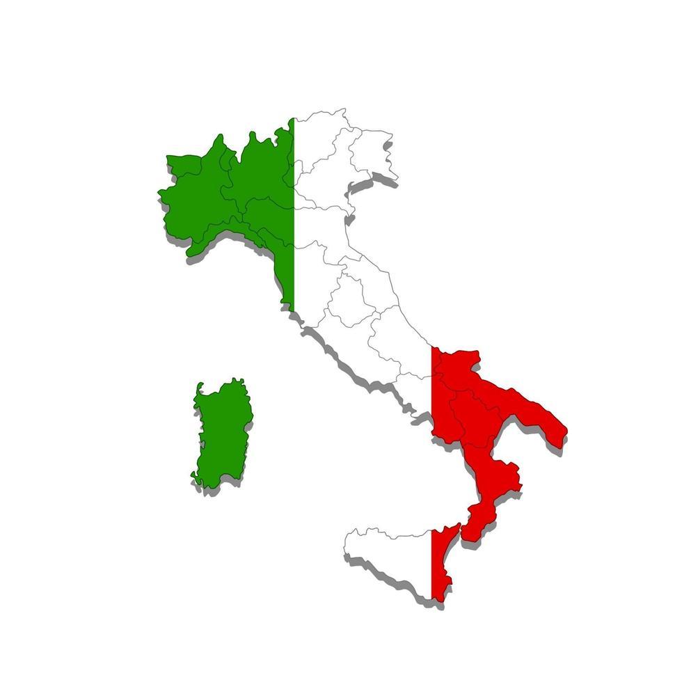 mappa dell'italia con i confini delle città del paese. illustrazione vettoriale