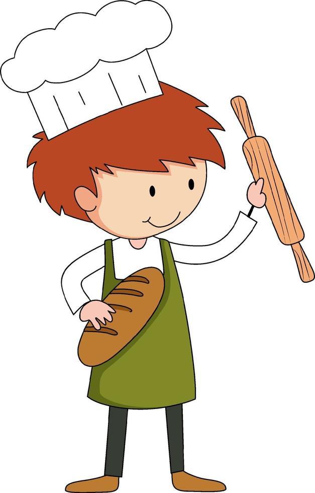 piccolo panettiere che tiene roba da forno personaggio dei cartoni animati isolato vettore