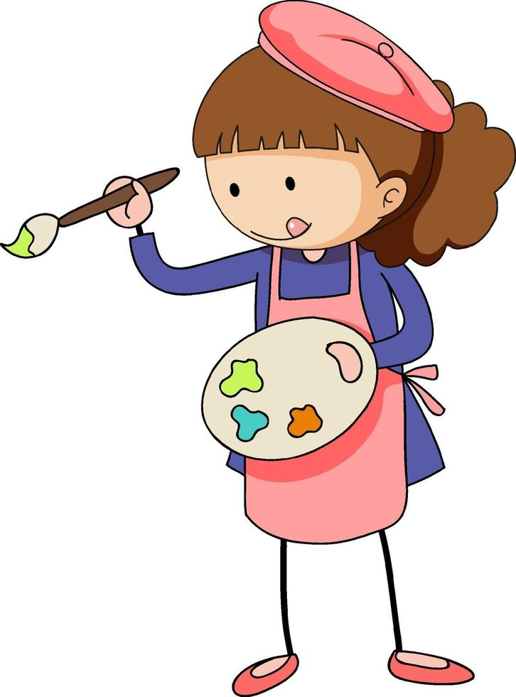 piccolo artista che tiene il personaggio dei cartoni animati della tavolozza dei colori isolato vettore