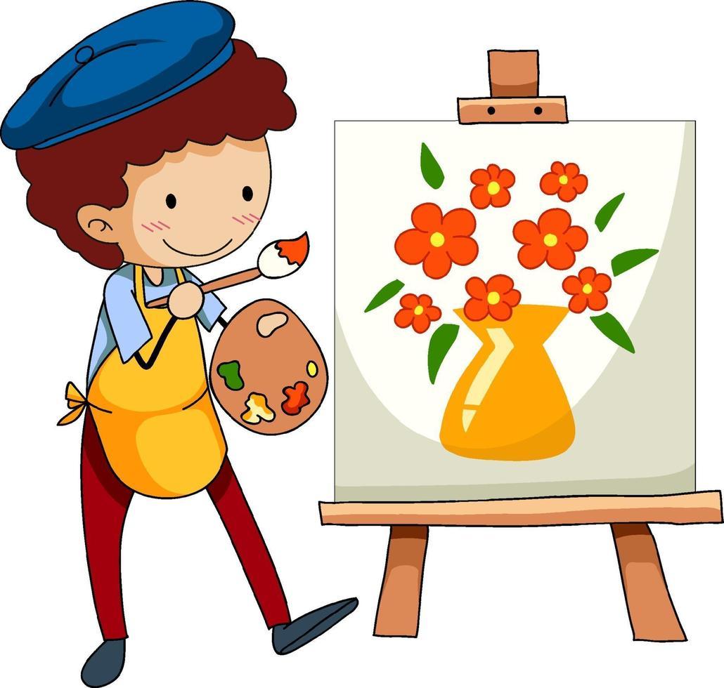 piccolo artista che disegna il personaggio dei cartoni animati immagine isolato vettore