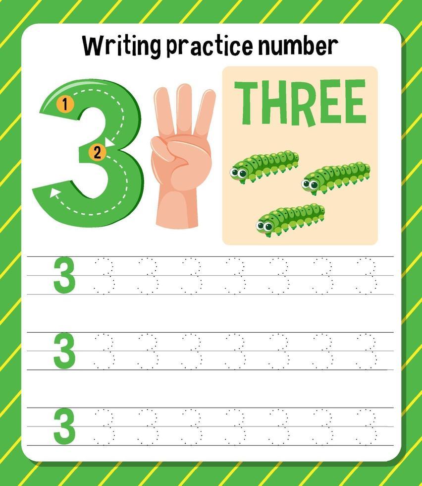 foglio di lavoro di scrittura pratica numero 3 vettore