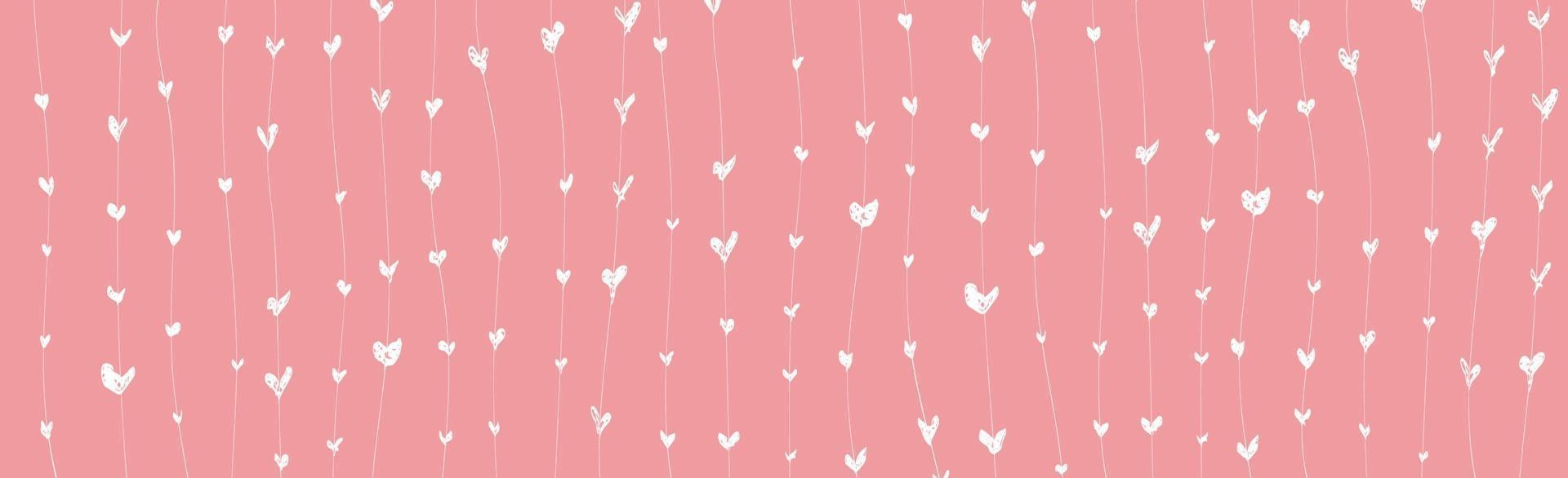 astratto sfondo rosa con cuori dipinti di bianco - illustrazione vettoriale