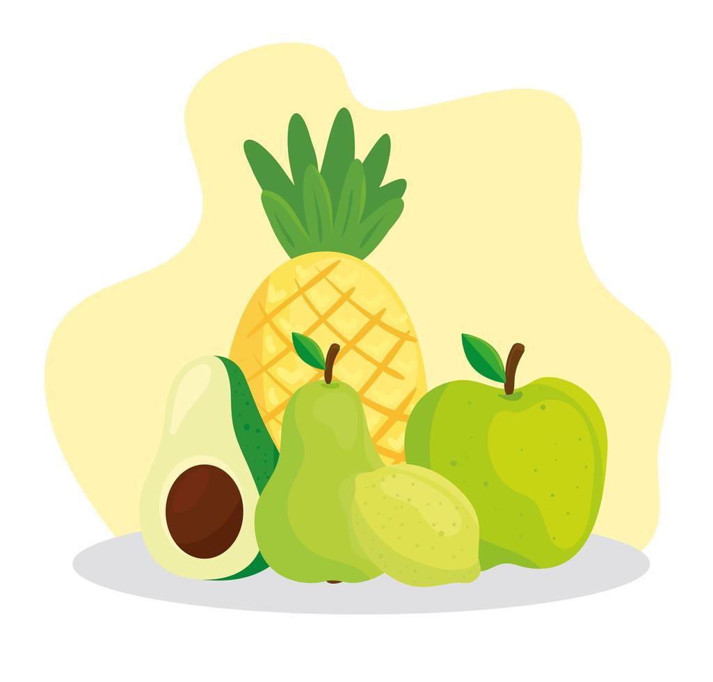 carino frutta fresca tropicale e avocado vettore