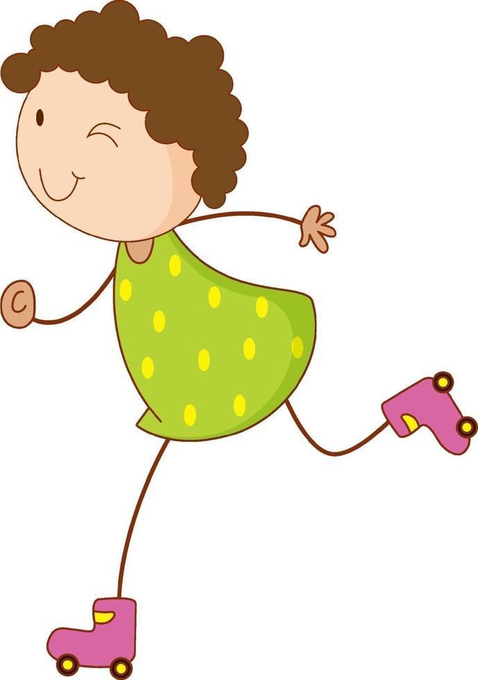 un bambino scarabocchio che gioca personaggio dei cartoni animati di pattini a rotelle isolato vettore