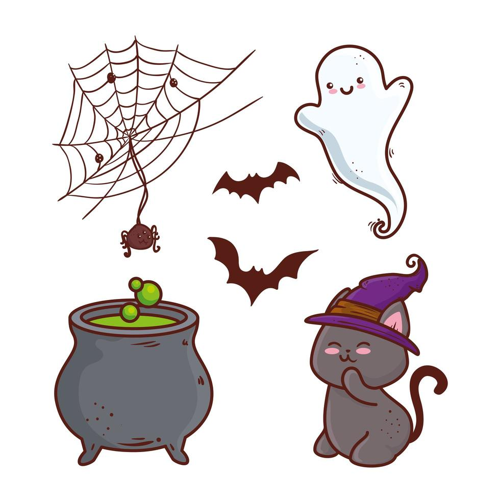 set di icone di halloween felice vettore