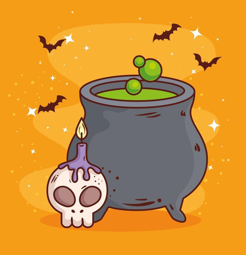 felice halloween, calderone con teschio e candela vettore