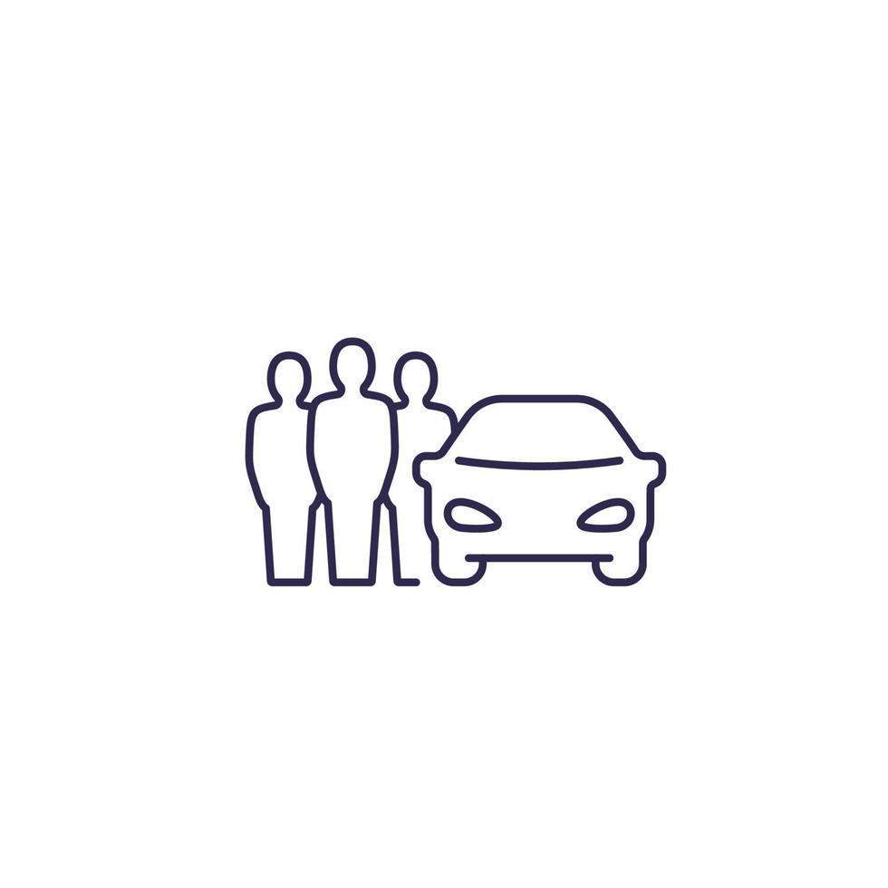 carsharing, icona di car pooling, persone che condividono un'auto, linear.eps vettore