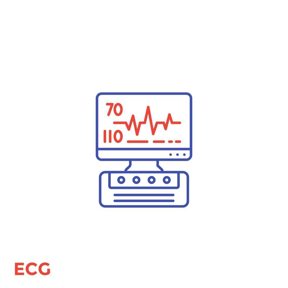 macchina ecg, icona linea diagnostica cardiaca.eps vettore