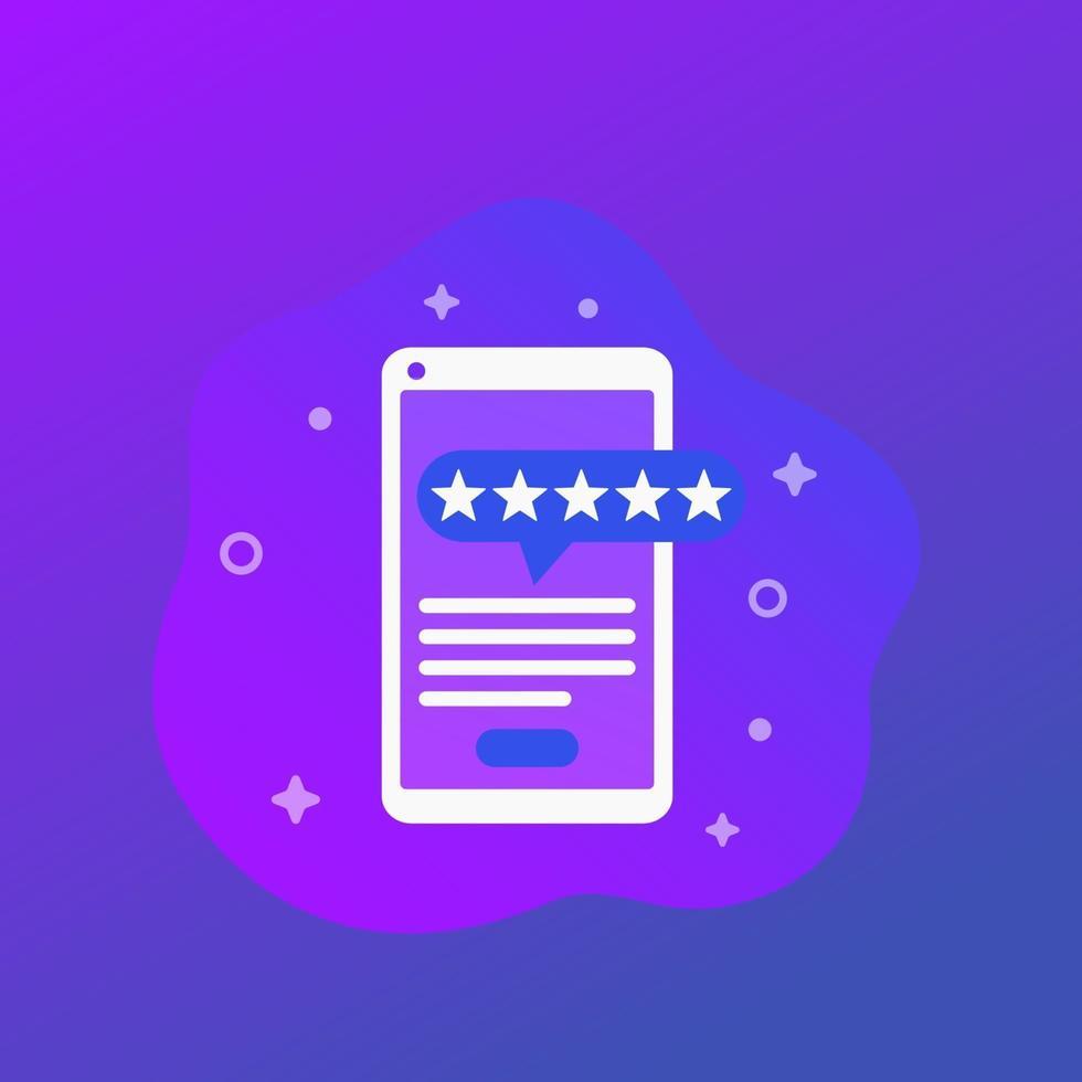 recensione di app per dispositivi mobili, vettore alla moda icon.eps