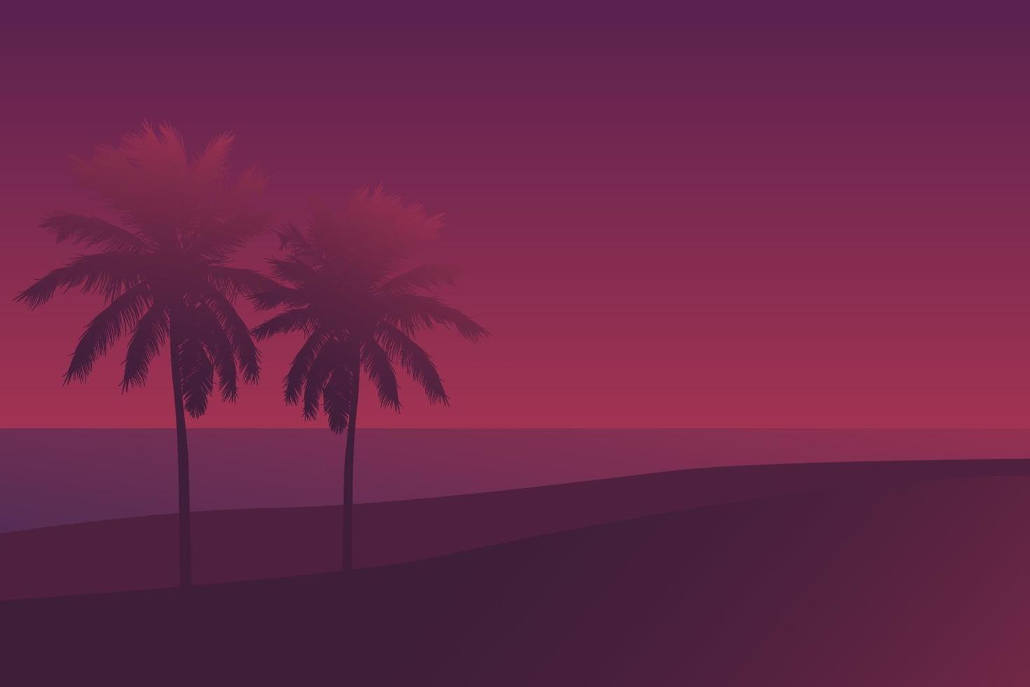 palme al tramonto, scene.eps di vettore