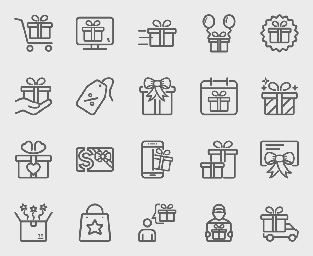 set di icone di linea regalo vettore