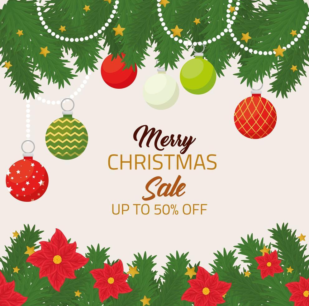 buon natale e felice anno nuovo banner di vendita vettore