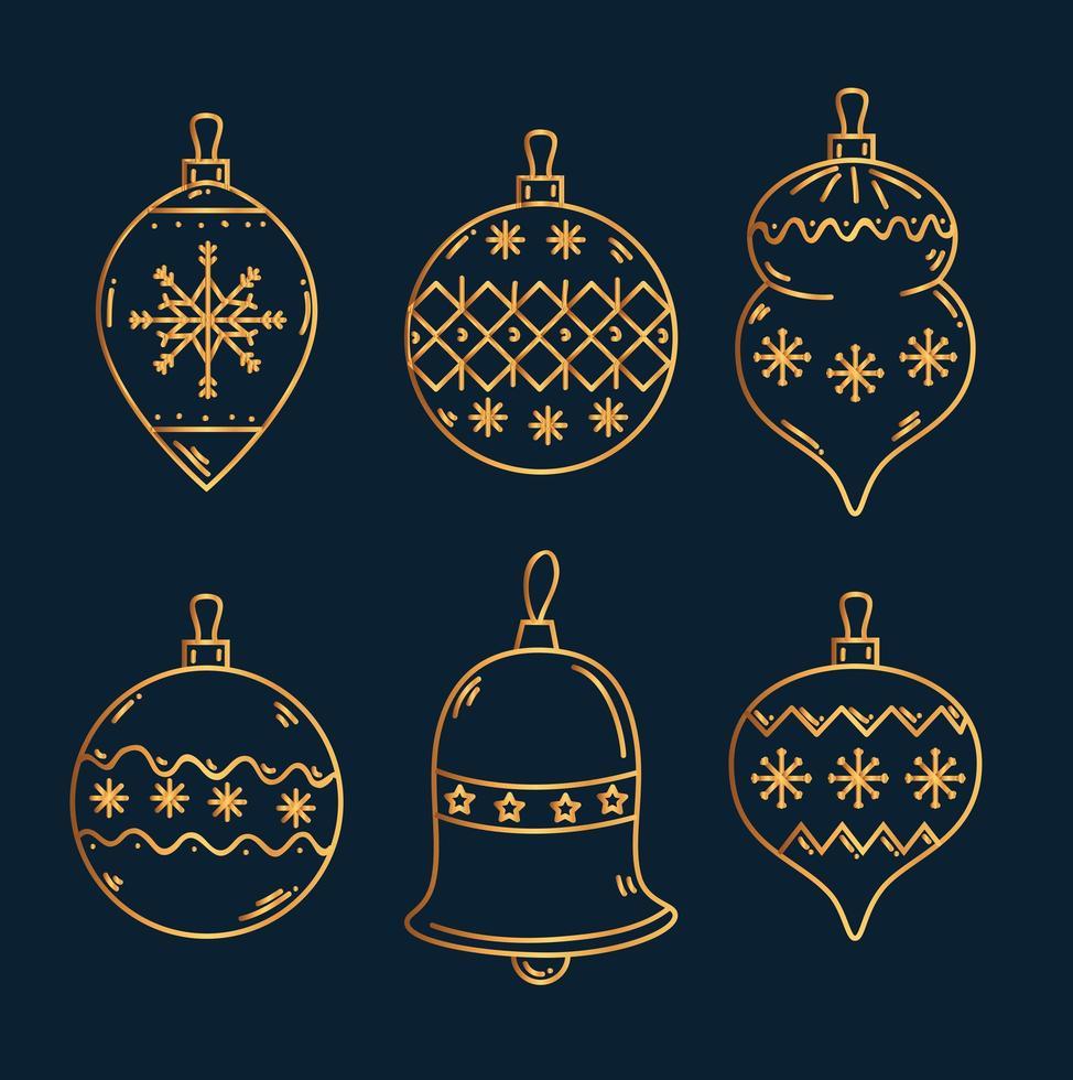 set di ornamenti natalizi vettore
