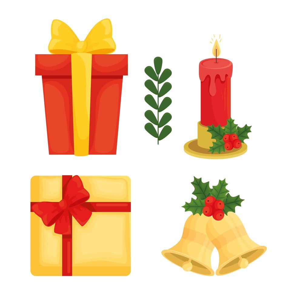 Buon Natale collezione di icone di disegno vettoriale