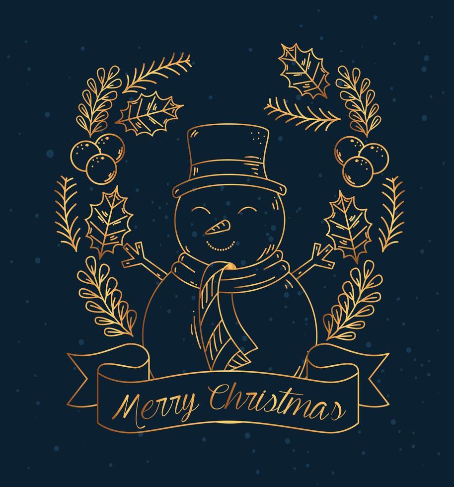 buon natale e felice anno nuovo banner con disegno vettoriale pupazzo di neve