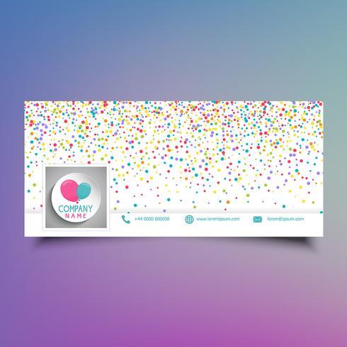 Design di copertina di timeline di media sociali con coriandoli colorati vettore