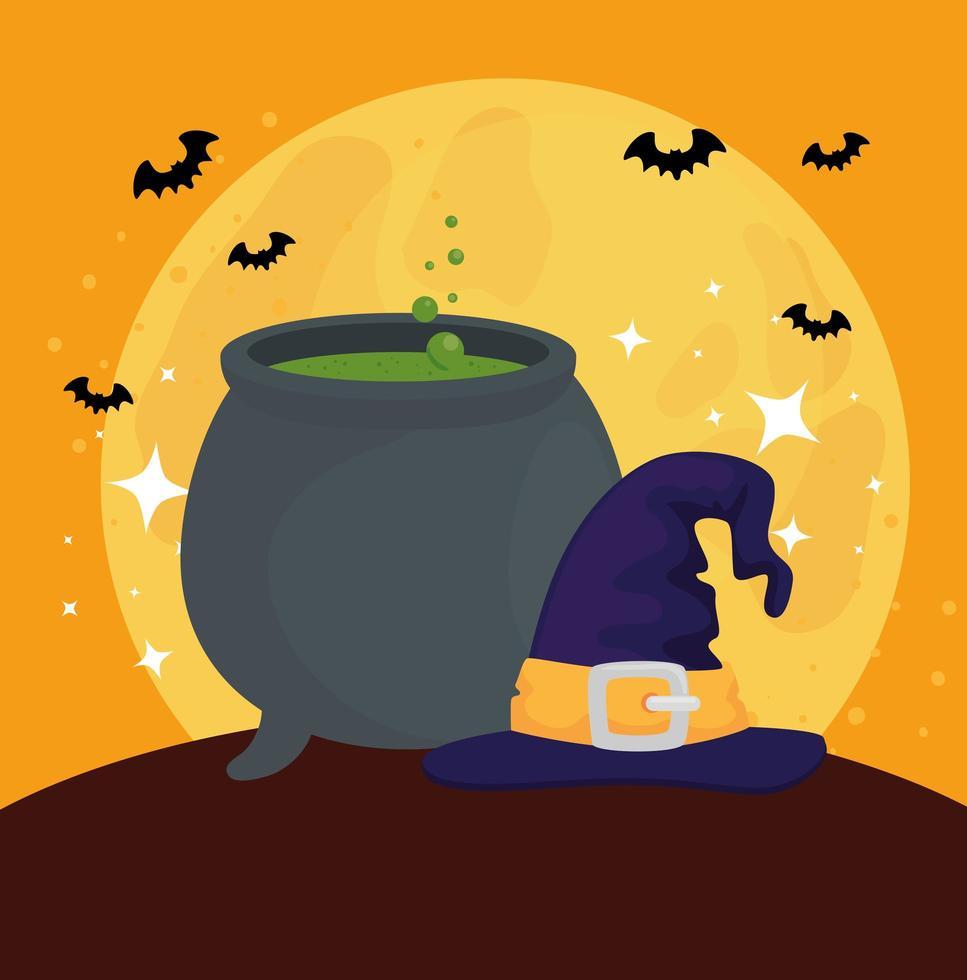 felice banner di halloween con calderone, pipistrelli volanti e cappello da strega vettore