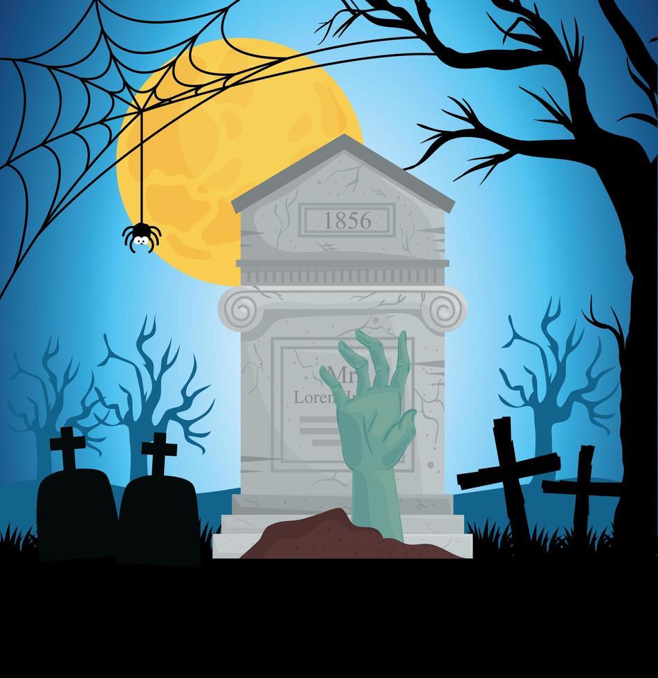 banner di halloween felice con scena del cimitero vettore