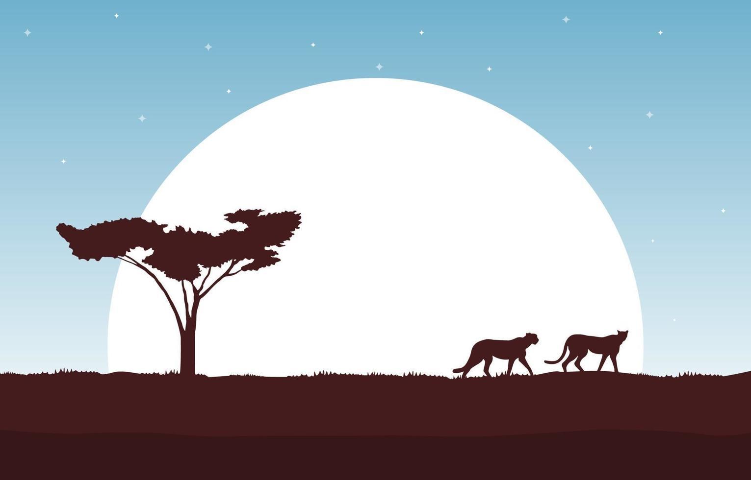 ghepardi nella savana africana con albero e illustrazione di grande sole vettore