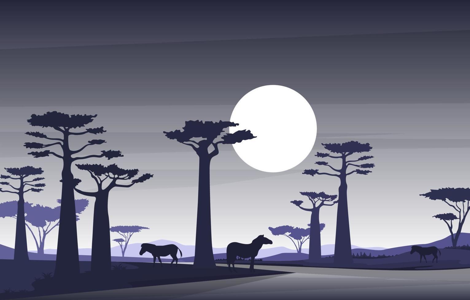 zebre nella savana africana con illustrazione di alberi di baobab vettore