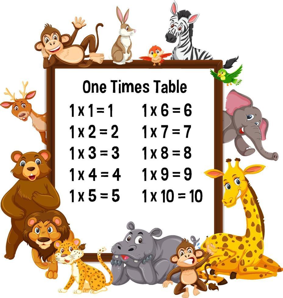 una tabellina con animali selvatici vettore
