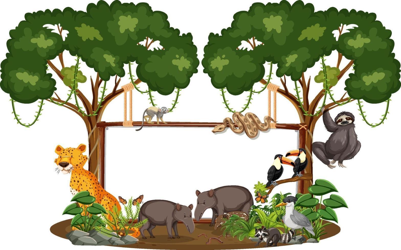 banner vuoto con animali selvatici e alberi della foresta pluviale su sfondo bianco vettore