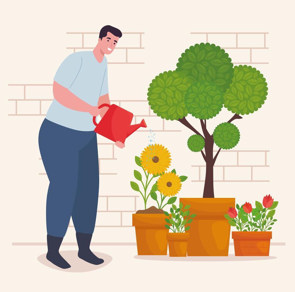 uomo giardinaggio all'aperto con annaffiatoio vettore