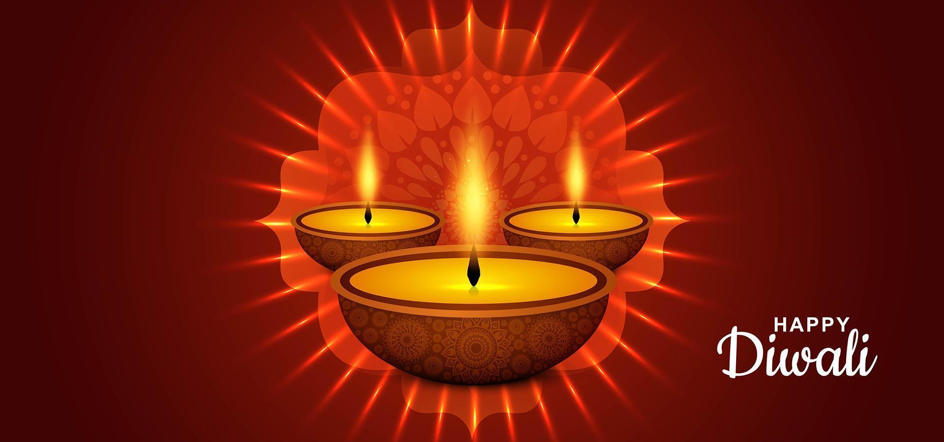 felice festival di luce diwali con sfondo diya vettore