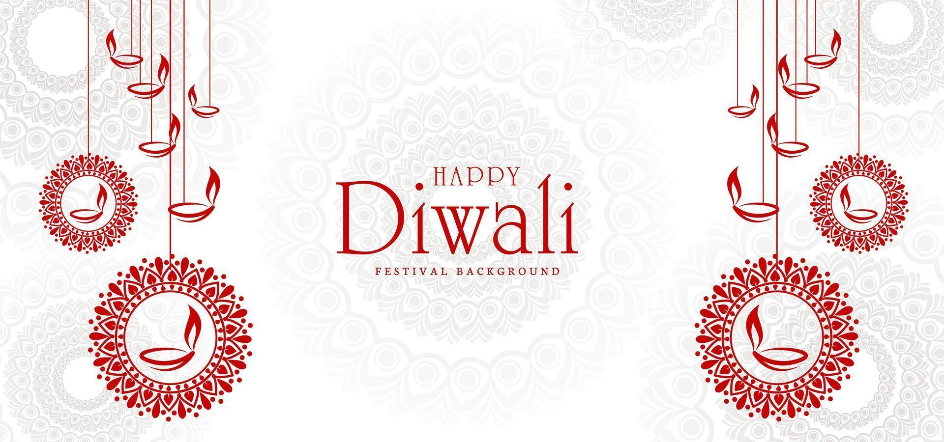 sfondo festival artistico biglietto di auguri diwali vettore