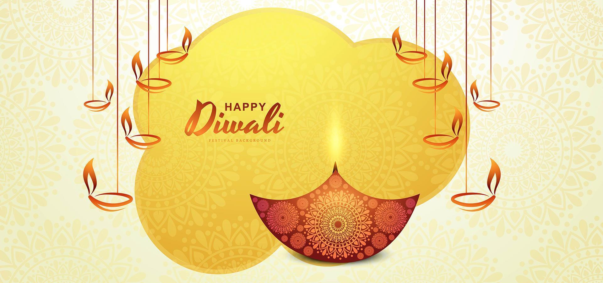 illustrazione di bruciare diya in vacanza felice diwali vettore